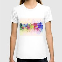 brussels T-shirts featuring Brussels skyline in watercolor background by Paulrommer