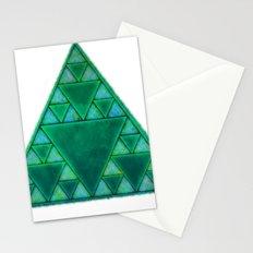 Sierpinski Triangle In Green Stationery Cards