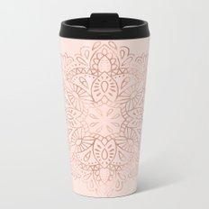Mandala Rose Gold Pink Shimmer on Blush Pink Metal Travel Mug