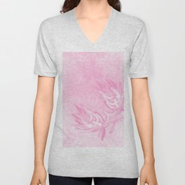 Wattle and kaleidoscope in pink Unisex V-Neck