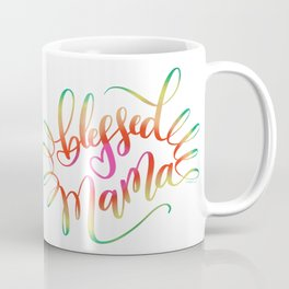 Blessed Mama Colorful Hand Lettering Design Coffee Mug