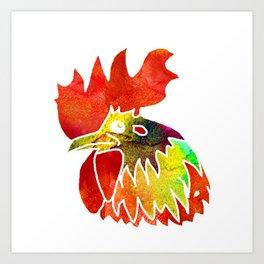 Watercolor rooster Art Print