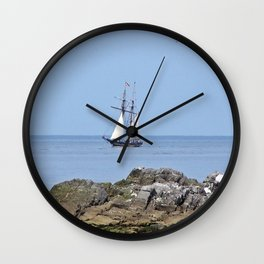 Tall ship Sailing by the point Wall Clock