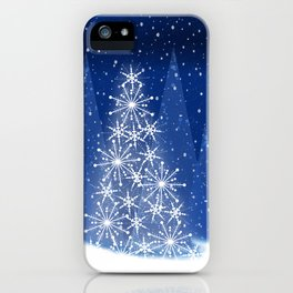 Snowy Night Christmas Tree Holiday Design iPhone Case
