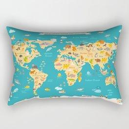 Animal map for kid. World vector poster Rectangular Pillow