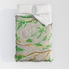 Hemlock Study Brush Pen Illustration by Amanda Laurel Atkins Comforters