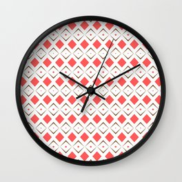 Chocolate Brown + Coral:  Pattern No. 6 Wall Clock