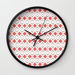 Chocolate Brown + Coral:  Pattern No. 6 Wall Clock
