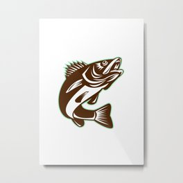 Walleye Fish Jumping Isolated Retro Metal Print