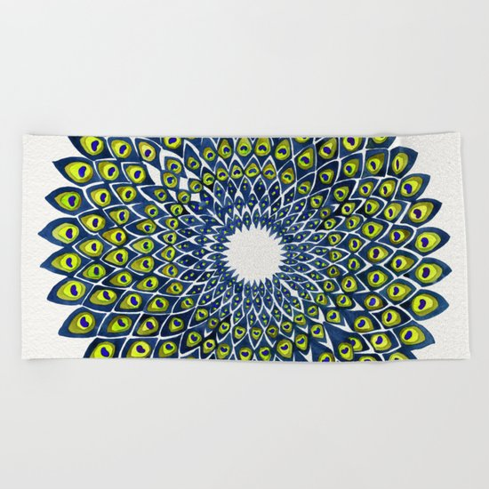 Peacock Feather Mandala – Navy & Lime Palette Beach Towel