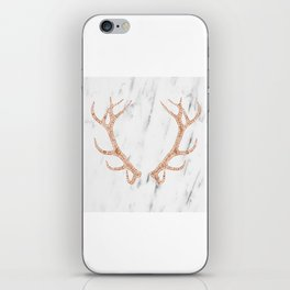 Rose gold antlers on soft white marble iPhone Skin