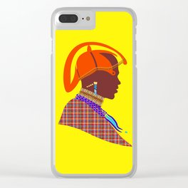massai warrior african art kenyan man graphic design Clear iPhone Case