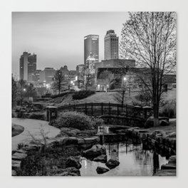 Tulsa Skyline Park View - Black and White Canvas Print