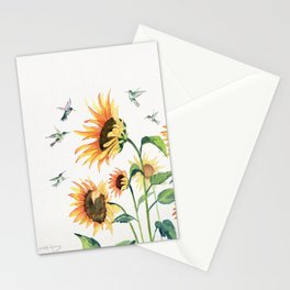 Sunflowers and Hummingbirds Stationery Cards