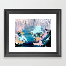 Waves: an abstract mixed media piece in black, white, blues, pinks, and brown Framed Art Print