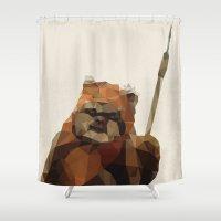 ewok Shower Curtains featuring Star Wars Poster Ewok Minimalist Polygon Print by The Retro Inc