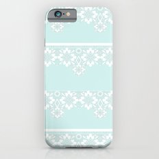 White lace on mint background iPhone 6s Slim Case