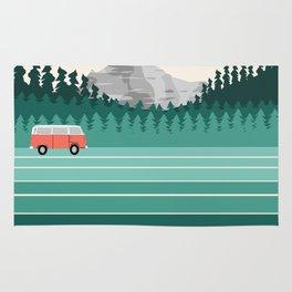 Oregon - retro throwback 70s vibes travel poster van life vacation mountains to sea Rug