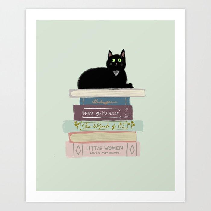Books & Cats Art Print