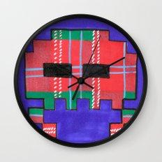 Tartan Invader #1 Wall Clock