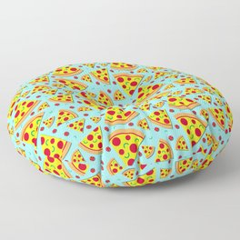 Pepperoni Pizza Slices Pattern on Sky Blue Floor Pillow