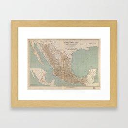 Vintage Mexico Railroad Map (1881) Framed Art Print