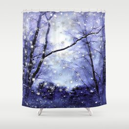 The Magic Of Winter Evening Shower Curtain