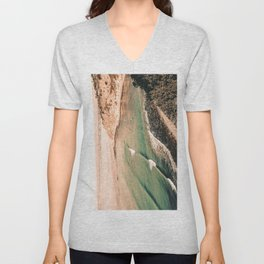 California Pacific Coast Highway // Vintage Waves Crashing on the Beach Teal Ocean Water Unisex V-Neck