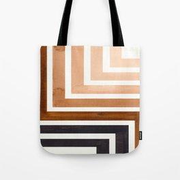 Raw Umber Mid Century Modern Watercolor Colorful Ancient Aztec Art Pattern Minimalist Geometric Patt Tote Bag