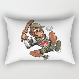 Baseball Monkey - Teak Rectangular Pillow