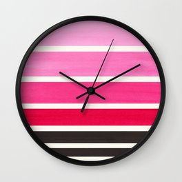 Magenta Minimalist Mid Century Modern Color Fields Ombre Watercolor Staggered Squares Wall Clock