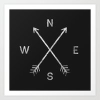 black white Art Prints featuring Compass by Zach Terrell
