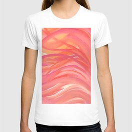 Abstract Pink Orange Purple Stripes Painting Girl Summer Colorful T-shirt