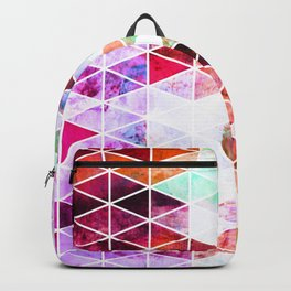 Pink Grungy Triangle Design Backpack