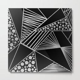 Modern geometrical black faux silver blush chic pattern Metal Print