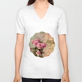 French country chic, rustic, collage, roses,vintage parchment,victorian,belle époque Unisex V-Neck