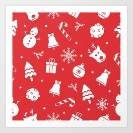 Merry Christmas Pattern - Red Art Print