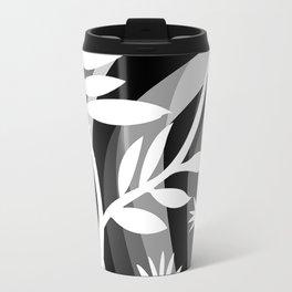 Black and White Botanical Illustration Curved Background and Plants Travel Mug