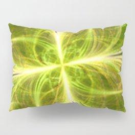 Abstract Lines Green Clover Shape Pillow Sham
