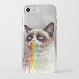 Cat Tastes the Grumpy Rainbow iPhone Case