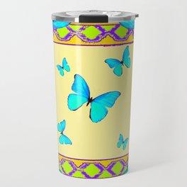 Decorative Cream & Turquoise Butterfly Art Travel Mug