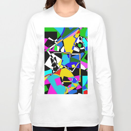 Colour Pieces - Geometric, eclectic, colourful, random pattern of shapes Long Sleeve T-shirt