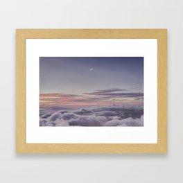 Sunset and Moon Rise Above the Clouds // Mount Haleakala, Maui Framed Art Print