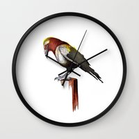 crow Wall Clocks featuring Crow by Rocío Gómez