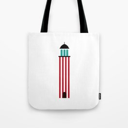 Lighthouse in red an white Tote Bag