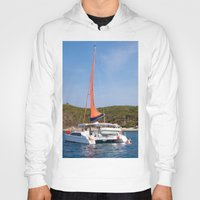 sailboat Hoodies featuring sailboat by nguyenkhacthanh
