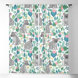 Cute gray koalas with ornaments, tropical flowers and leaves. Seamless tropical pattern. Blackout Curtain