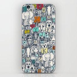 animal ABC indigo multi iPhone Skin