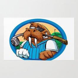 Cartoon walrus golf club Rug