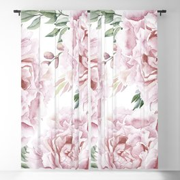 Beautiful Pink Watercolor Floral Bouquet Blackout Curtain